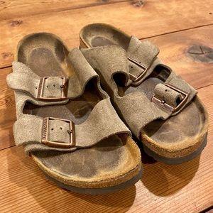Birkenstock Soft Footbed Taupe Suede Sandals